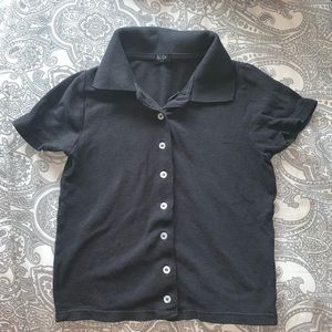 brandy melville button up polo cropped tee